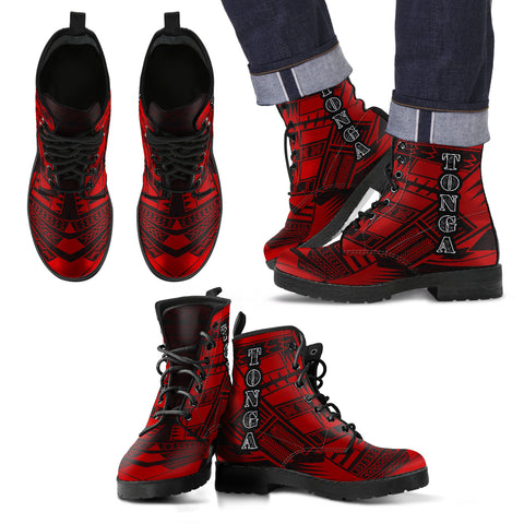 Men's Tonga Leather Boots - Polynesian Tattoo Red