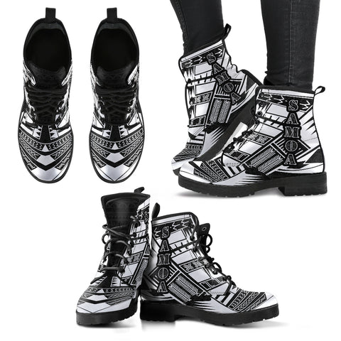 Women's Samoa Leather Boots - Polynesian Tattoo Black