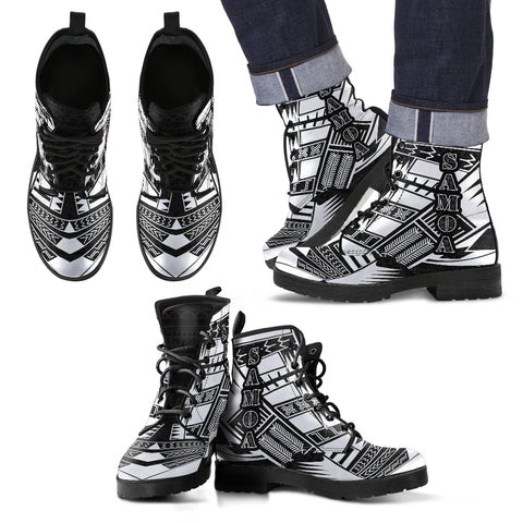 Men's Samoa Leather Boots - Polynesian Tattoo Black