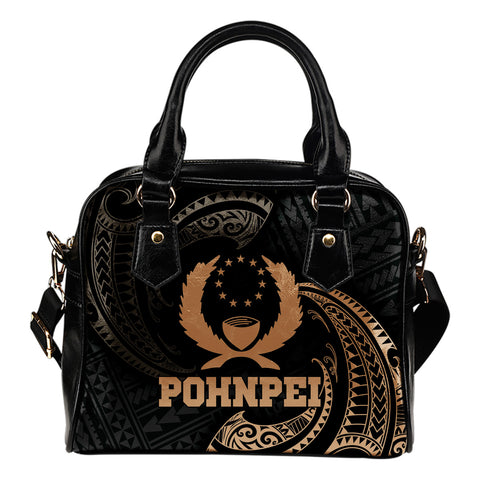Pohnpei Micronesia Shoulder Handbag - Gold Tribal Wave