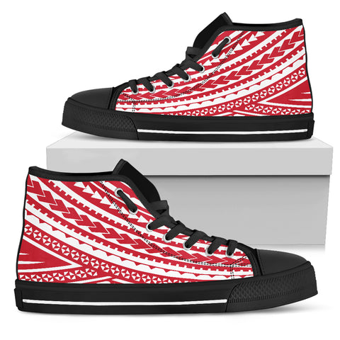 Womens Polynesian High Top Shoes - Red Version Black