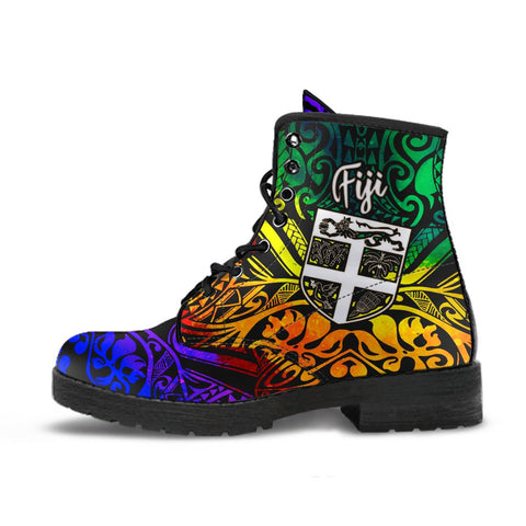 Image of Fiji Leather Boots - Rainbow Polynesian Pattern