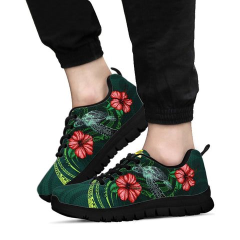 Hawaii Polynesian Sneakers - Green Turtle Hibiscus