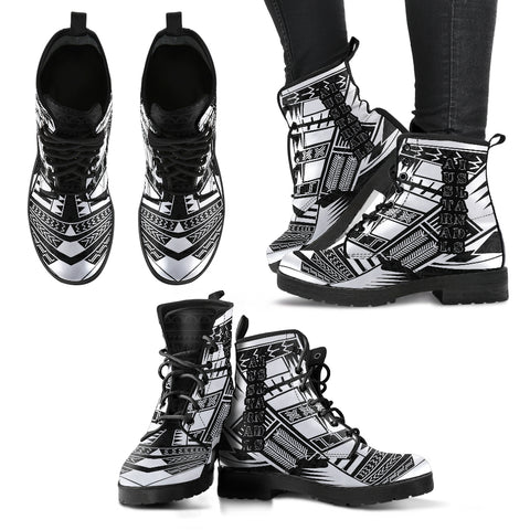 Women's Austral Islands Leather Boots - Polynesian Tattoo Black
