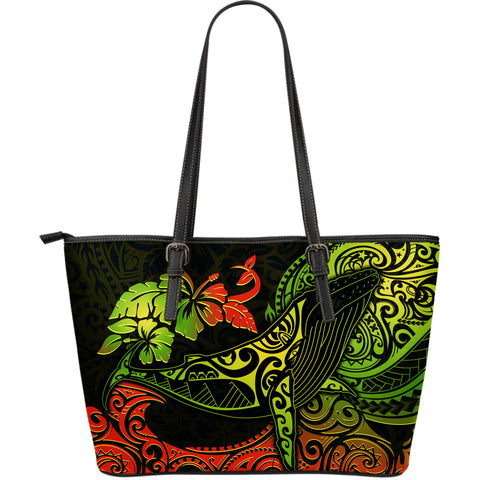 Hawaii Large Leather Tote Bag - Polynesian Humpback Whale