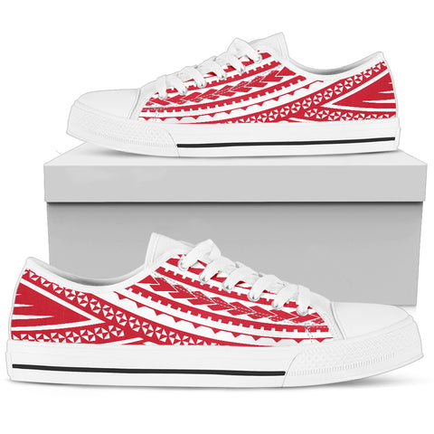 Women's Polynesian Low Top Shoes - Red Version White