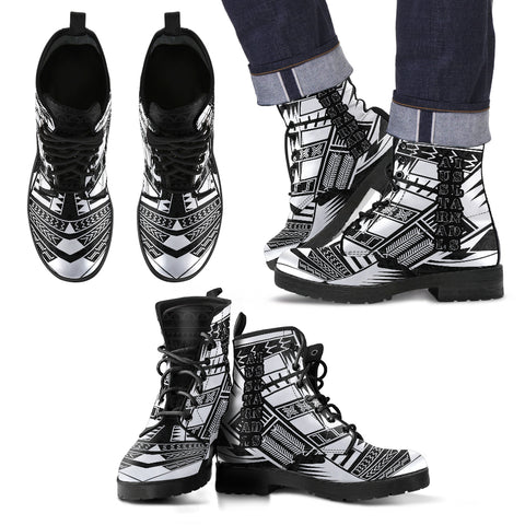 Men's Austral Islands Leather Boots - Polynesian Tattoo Black