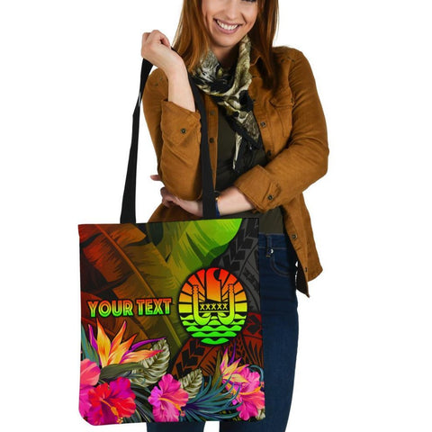Tahiti Polynesian Personalised Tote Bags -  Hibiscus and Banana Leaves
