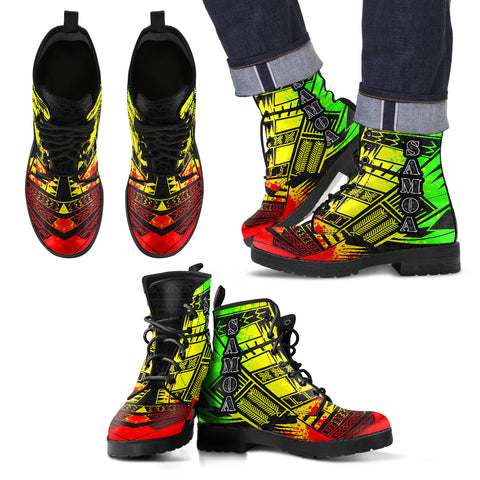Men's Samoa Leather Boots - Polynesian Tattoo Reggae