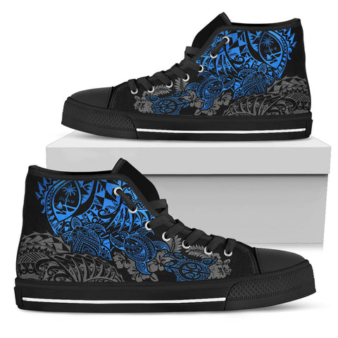 Guam Polynesian High Top Shoes - Blue Turtle Flowing