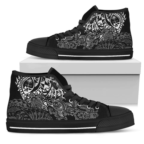 Image of Guam Polynesian High Top Shoes - White Turtle Flowing