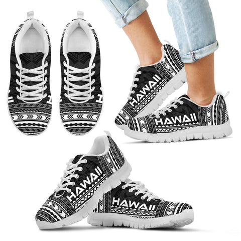 Kid's Hawaii Sneakers - Polynesian Chief Black Version White