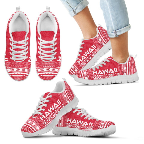 Image of Kid's Hawaii Sneakers - Polynesian Chief Flag Version White