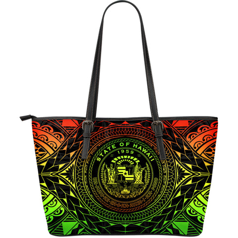 Hawaii Map Polynesian Leather Tote - Reggae Color Version - BN01