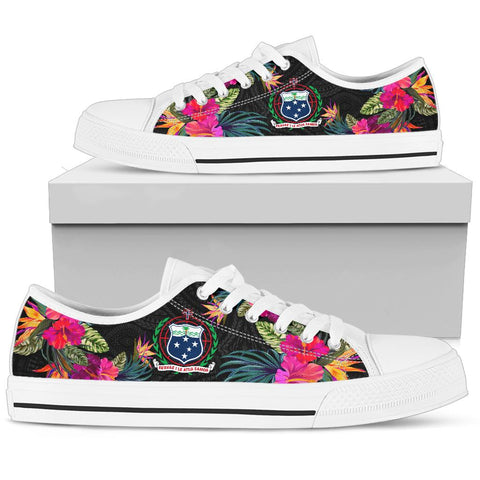 Image of Samoa Low Top Shoe - Hibiscus Polynesian Pattern - BN39