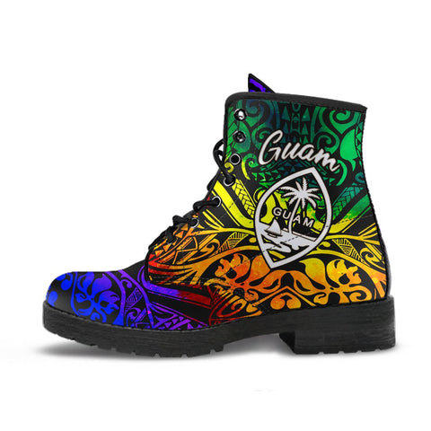 Guam Leather Boots - Rainbow Polynesian Pattern