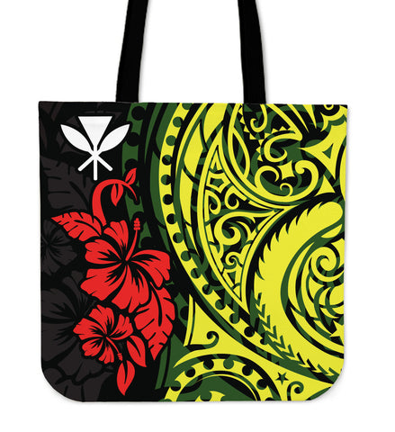 Hawaii Tote Bag - Polynesian Patterns With Hibiscus Flowers