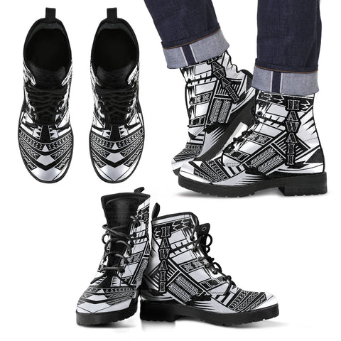 Image of Men's Hawaii Leather Boots - Polynesian Tattoo Black