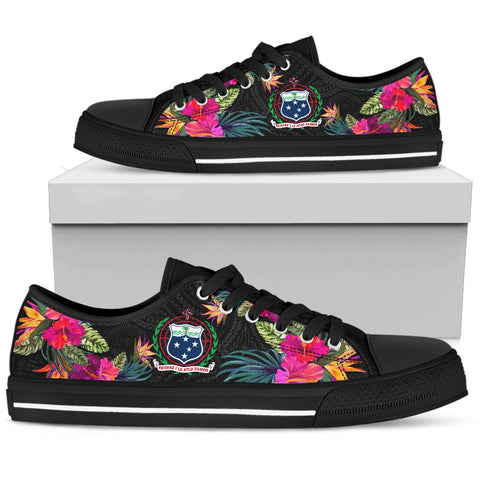 Samoa Low Top Shoe - Hibiscus Polynesian Pattern