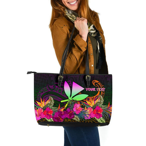 Polynesian Hawaii Personalised  Kanaka Maoli Large Leather Tote Bag - Summer Hibiscus