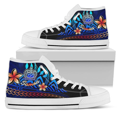 Samoa High Top Shoes Blue - Vintage Tribal Mountain - BN11