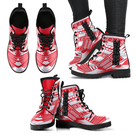 Women's Austral Islands Leather Boots - Polynesian Tattoo Flag