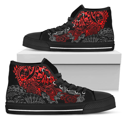 Image of Guam Polynesian High Top Shoes - Red Turtle Flowing