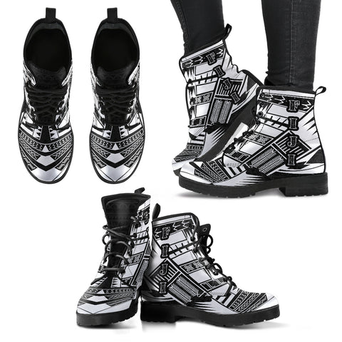Women's Fiji Leather Boots - Polynesian Tattoo Black