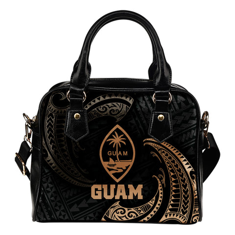 Guam Polynesian Shoulder Handbag - Gold Tribal Wave
