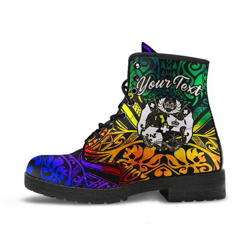 Image of Tonga Custom Personalised Leather Boots - Rainbow Polynesian Pattern
