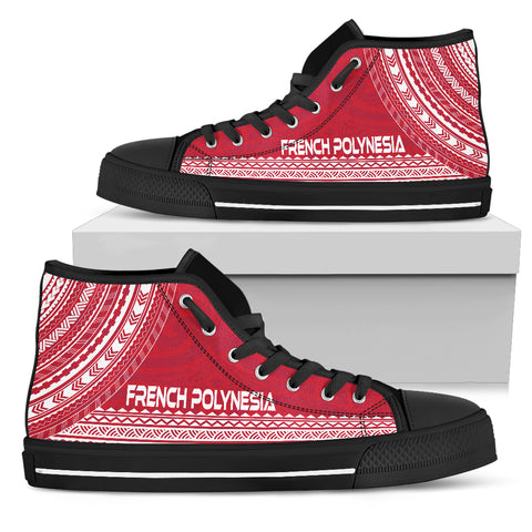 French Polynesia High Top Shoe - Polynesian Flag Chief Version