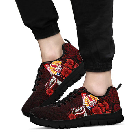 Image of Tahiti Polynesian Sneakers - Coat Of Arm With Hibiscus