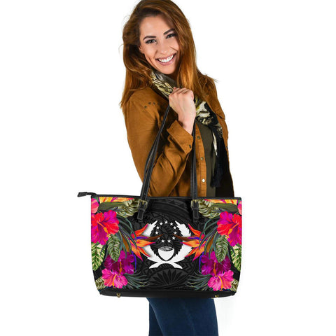 Pohnpei Large Leather Tote - Polynesian Hibiscus Pattern