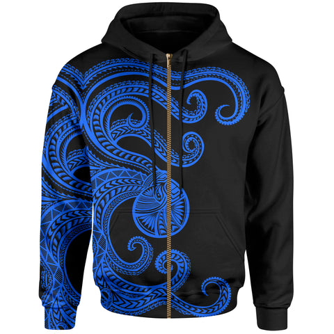 Polynesian Octopus Zip-Up Hoodie Blue Color - BN39