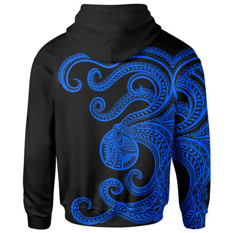 Image of Polynesian Octopus Zip-Up Hoodie Blue Color - BN39