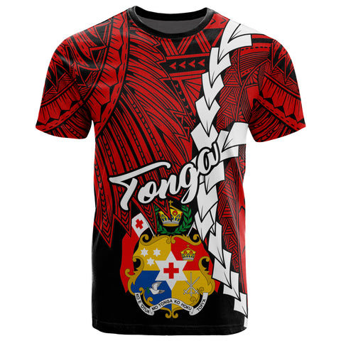 Image of Tonga Polynesian T-Shirt - Tribal Wave Tattoo Flag Color