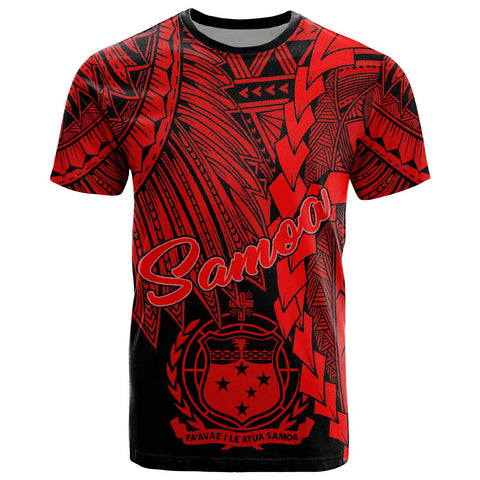 Samoa Polynesian T-Shirt - Tribal Wave Tattoo Red