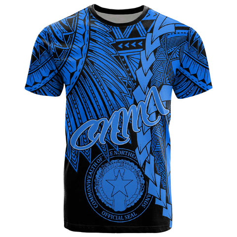 Northern Mariana Islands Polynesian T-Shirt - Tribal Wave Tattoo Blue