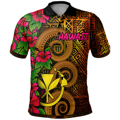 Image of Hawaii Polynesian Polo Shirt - Hibiscus Vintage
