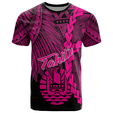 Tahiti Polynesian T-Shirt - Tribal Wave Tattoo Pink