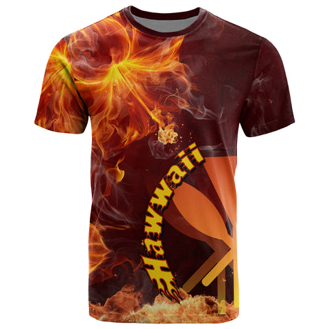 Image of Hawaii Polynesian T- Shirt - Fire Hibiscus
