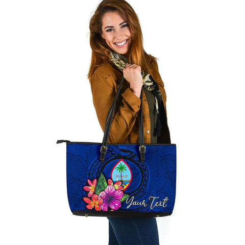 Guam Polynesian Custom Personalised Leather Tote - Floral With Seal Blue
