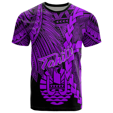 Image of Tahiti Polynesian T-Shirt - Tribal Wave Tattoo Purple