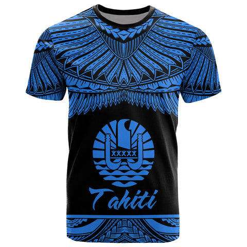 Image of Tahiti Polynesian T-Shirt - Tahiti Pride Blue Version