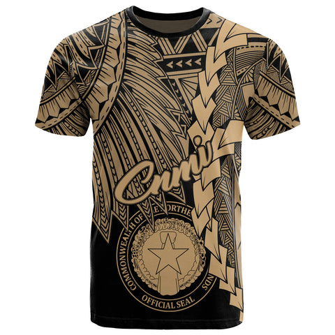 Image of Northern Mariana Islands Polynesian T-Shirt - Tribal Wave Tattoo Gold