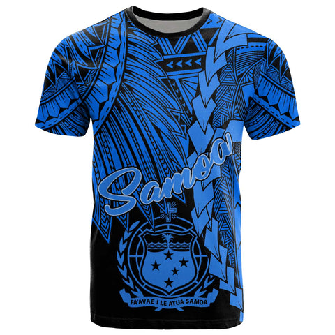 Image of Samoa Polynesian T-Shirt - Tribal Wave Tattoo Blue