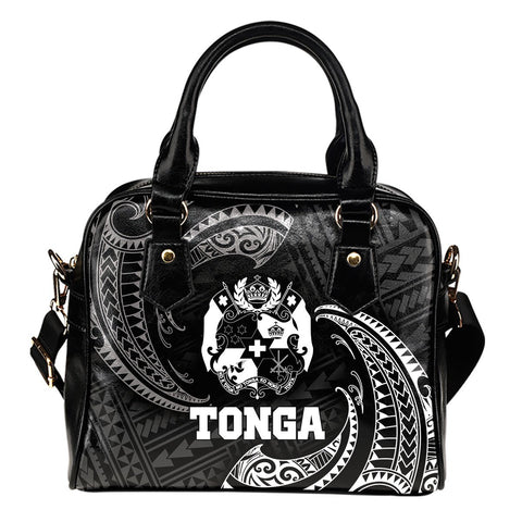Tonga Polynesian Shoulder Handbag - White Tribal Wave