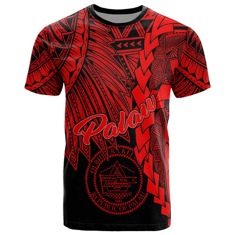 Image of Palau Polynesian T-Shirt - Tribal Wave Tattoo Red