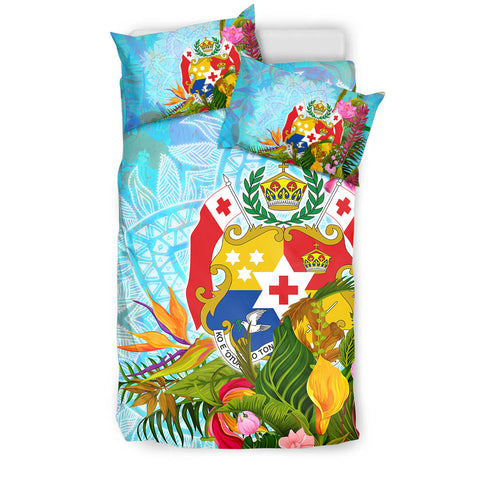 Image of Tonga Bedding Set - Tropical Flowers Boho Style - BN01