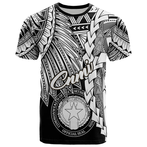 Image of Northern Mariana Islands Polynesian T-Shirt - Tribal Wave Tattoo White
